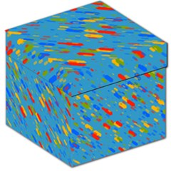 Colorful shapes on a blue background Storage Stool 12
