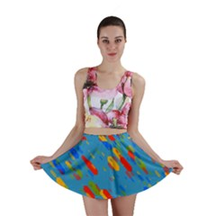 Colorful Shapes On A Blue Background Mini Skirt