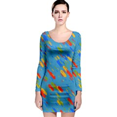 Colorful shapes on a blue background Long Sleeve Bodycon Dress