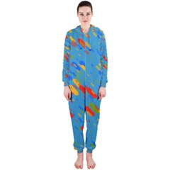 Colorful shapes on a blue background Hooded OnePiece Jumpsuit (Ladies)