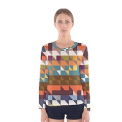 Shapes In Retro Colors Long Sleeve T Shirt (women)