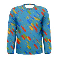 Colorful Shapes On A Blue Background Men  Long Sleeve T Shirt
