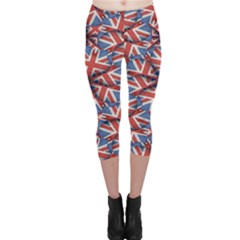 Heart Shaped England Flag Pattern Design Capri Leggings