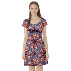 Heart Shaped England Flag Pattern Design Short Sleeved Skater Dress