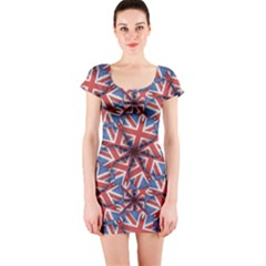 Heart Shaped England Flag Pattern Design Short Sleeve Bodycon Dress