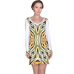 Art Print Tribal Style Pattern Long Sleeve Nightdress