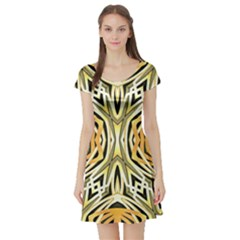 Art Print Tribal Style Pattern Short Sleeved Skater Dress