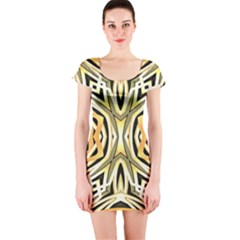 Art Print Tribal Style Pattern Short Sleeve Bodycon Dress