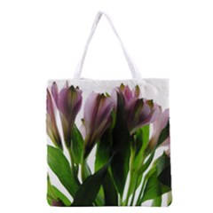 Pink Flowers On White Grocery Tote Bag