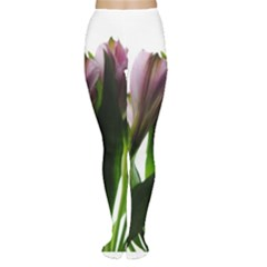 Pink Flowers on White Tights