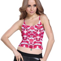 Floral Print Swirls Decorative Design Women s Spaghetti Strap Bra Top