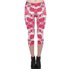 Floral Print Swirls Decorative Design Capri Leggings