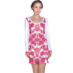 Floral Print Swirls Decorative Design Long Sleeve Nightdress