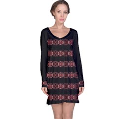 Tribal Ornate Geometric Pattern Long Sleeve Nightdress