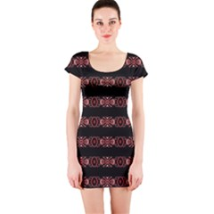 Tribal Ornate Geometric Pattern Short Sleeve Bodycon Dress