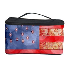 Distressed American Flag Cosmetic Storage Case