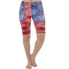 Distressed American Flag Cropped Leggings