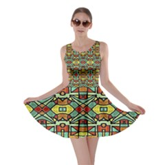 Colorful Tribal Geometric Pattern Skater Dress
