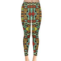 Colorful Tribal Geometric Pattern Leggings