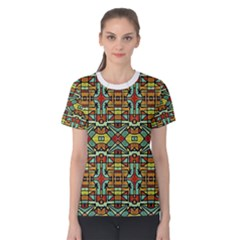 Colorful Tribal Geometric Pattern Women s Cotton Tee