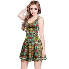Colorful Tribal Geometric Pattern Sleeveless Dress