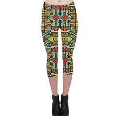 Colorful Tribal Geometric Pattern Capri Leggings