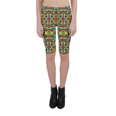 Colorful Tribal Geometric Pattern Cropped Leggings
