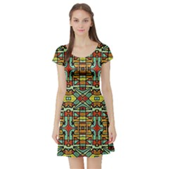 Colorful Tribal Geometric Pattern Short Sleeved Skater Dress