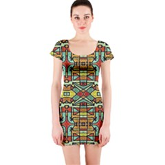 Colorful Tribal Geometric Pattern Short Sleeve Bodycon Dress