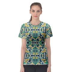 Colorful Tribal Abstract Pattern Women s Sport Mesh Tee
