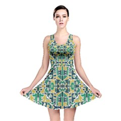 Colorful Tribal Abstract Pattern Reversible Skater Dress