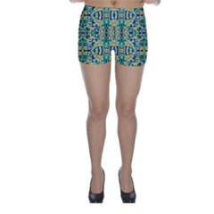 Colorful Tribal Abstract Pattern Skinny Shorts