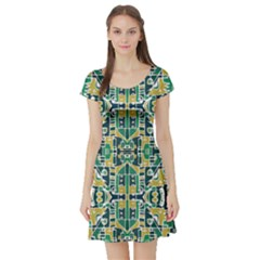 Colorful Tribal Abstract Pattern Short Sleeved Skater Dress