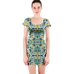 Colorful Tribal Abstract Pattern Short Sleeve Bodycon Dress