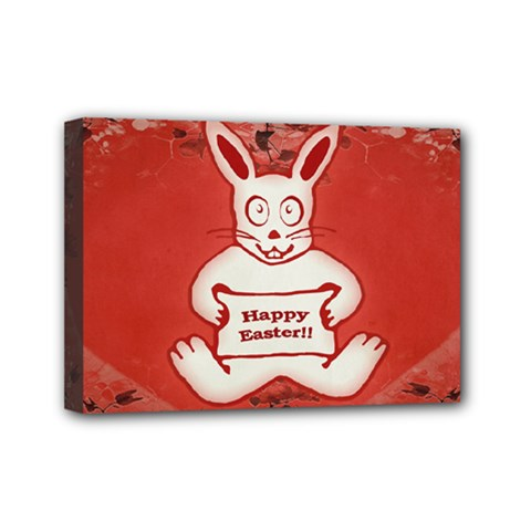 Cute Bunny Happy Easter Drawing Illustration Design Mini Canvas 7  X 5  (framed)