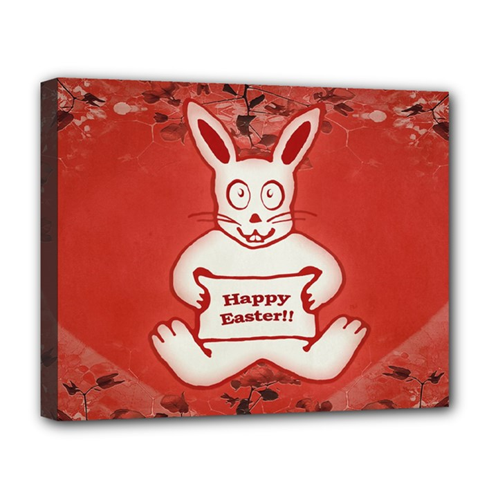 Cute Bunny Happy Easter Drawing Illustration Design Deluxe Canvas 20  x 16  (Framed)