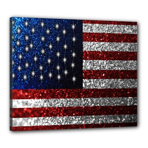 American Flag in Glitter Photograph Canvas 24  x 20  (Framed)