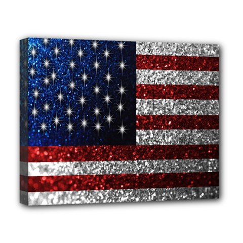American Flag In Glitter Photograph Deluxe Canvas 20  X 16  (framed)