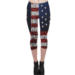 American Flag In Glitter Photograph Capri Leggings