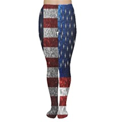 American Flag in Glitter Photograph Tights