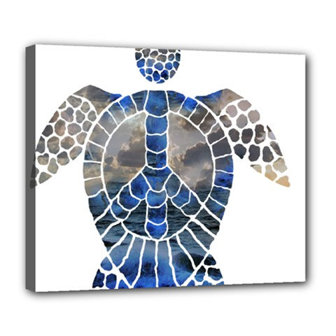 Peace Turtle Deluxe Canvas 24  X 20  (framed)
