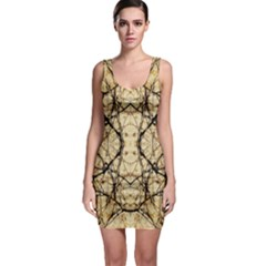 Nature Floral Print Collage In Warm Tones Bodycon Dress