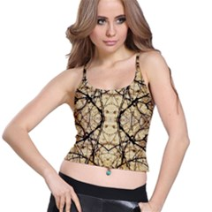 Nature Floral Print Collage in Warm Tones Women s Spaghetti Strap Bra Top