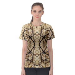 Nature Floral Print Collage in Warm Tones Women s Sport Mesh Tee