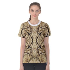 Nature Floral Print Collage in Warm Tones Women s Cotton Tee