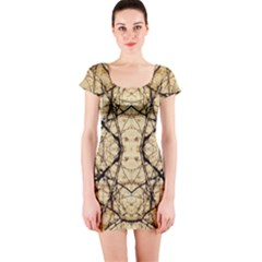 Nature Floral Print Collage in Warm Tones Short Sleeve Bodycon Dress