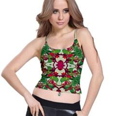 Floral Print Colorful Pattern Women s Spaghetti Strap Bra Top