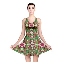 Floral Print Colorful Pattern Reversible Skater Dress