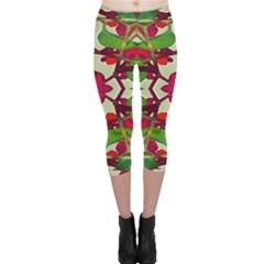 Floral Print Colorful Pattern Capri Leggings