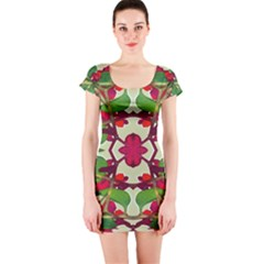 Floral Print Colorful Pattern Short Sleeve Bodycon Dress